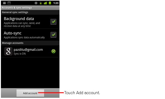 Android account & sync settings